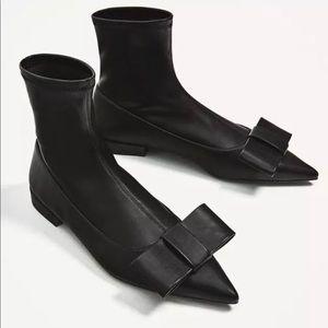 Zara black sock booties size 6 bow flat